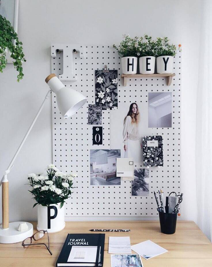 Pegboard organisation idea work from home Ways to decorate your desk to motivate you while working from home 91983923 2703548103210511 4215296176645210112 n