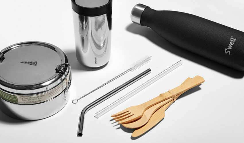 Reusable straw, reusable bottle and food container zero waste How can we embrace a sustainability / zero waste lifestyle stylish zero waste kit reusable products